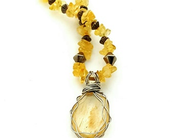 Citrine necklace with Stainless Steel Wire Wrapped Focal 17.5 inches with 3.5 inch extension