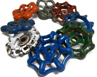 Faucet Handle Assortment Hardware Eight Industrial Salvage Handles Assorted Spigot Knob Variety Various Colors Styles and Sizes