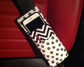 White and Black Animal Paws Print and ZigZag Three Pocket Bi-Fold Seat Belt Pocket Pouch