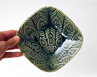 Green Peacock Feather Jewelry Dish, Spoon Rest, Soap Dish, Key Holder - Ceramic, Pottery - Gifts for Her