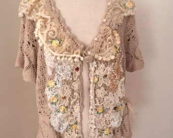 altered couture large size upcycled short sleeve cotton cardigan vintage lace reworked  beaded