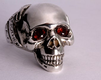 Red Garnet  eye Silver Skull Ring / Another Day Above Dirt / Memento Mori (Solid Sterling Silver)