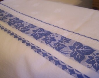 Country Blue & White Jacquard Tablecloth, Leaves on Crisp White, Cotton Damask,Square 42 x 44