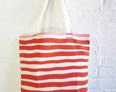 NEW Canvas Tote Bags, Casco Bay Stripe Print in Tomato and light Pink