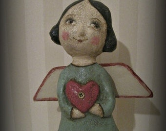 Angel with a heart paper mache doll ooak