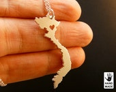 Vietnam Map Handmade Personalized Sterling Silver .925 Necklace in a gift box