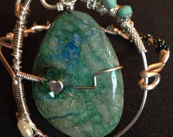 Azurite & Malachite  Wire Wrapped Bracelet
