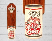 Barware Bottle Opener University of Wisconsin Badger Wall Mounted Bottle Opener with Vintage Bucky Badger Beer Can Cap Catcher