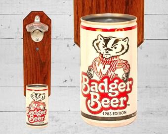 Barware Bottle Opener University of Wisconsin Badger Wall Mounted Bottle Opener with Vintage Bucky Badger Beer Can Cap Catcher