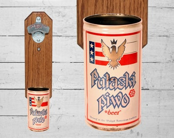 Pulaski Piwo Wall Mounted Bottle Opener with Vintage Polish Beer Can Cap Catcher - Poland