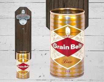 Grain Belt Wall Mounted Bottle Opener with Vintage Beer Can Cap Catcher - Gifts for Groomsmen