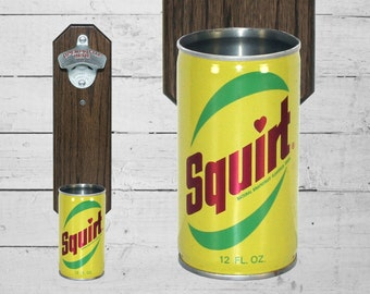 Wall Mounted Bottle Opener with Vintage Squirt Pop Can Cap Catcher - Unique Gift for Guy Housewarming Secret Santa