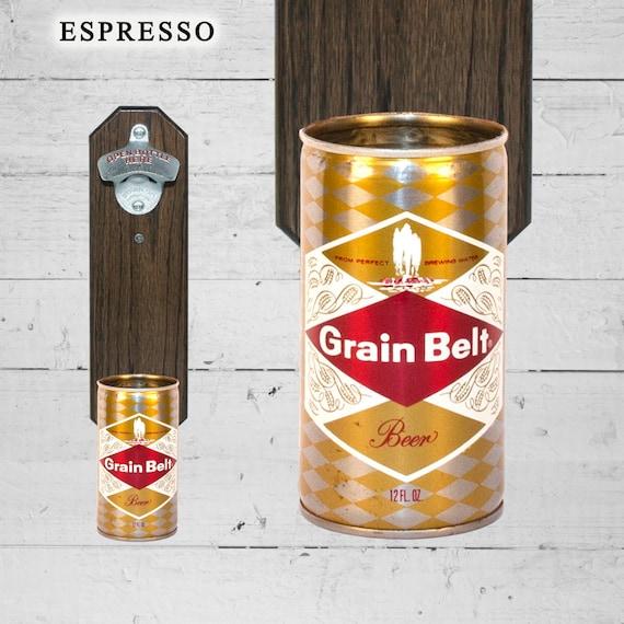 Grain Belt Wall Mounted Bottle Opener With Vintage Beer Can