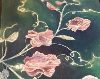 "Pink Sweet Pea hand painted silk chiffon scarf. Blue, pink pearl white elegant silk shawl. Artists scarf 18"" x 71"", ooak art gift for her"