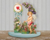 Vintage PoP Up Cherub Valentine Shabby Chic Fold Out Cupid Valentine My Love The Weight Of Love Two Sheets Digital Clip Art Collage Sheet