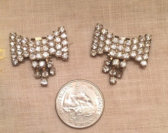 Vintage Rhinestone Bowties Shoe Sweater Clips