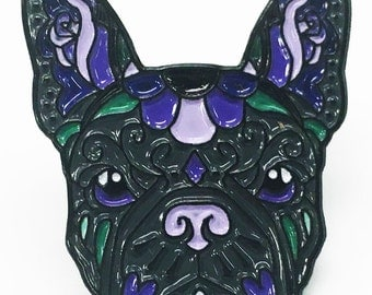 French Bulldog Black and Purple Sugar Skull Tattoo Breed Dog Lover Enamel Laptop Pin