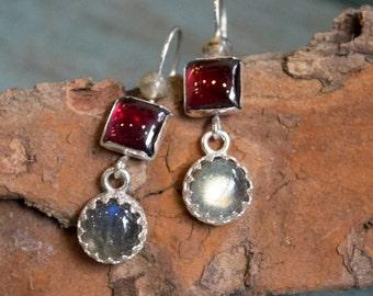 Red garnet earrings, labradorite earrings, sterling silver earrings, gemstone earrings, long earrings, everyday earrings - Thoughtful E8021