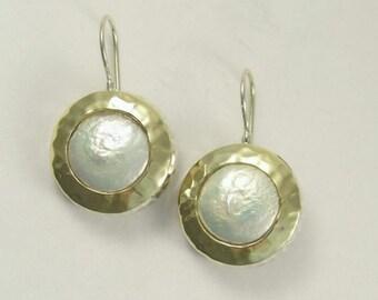 Coin pearl earrings, sterling silver earrings, yellow gold earrings, two-tone earrings, hammered gold earrings - White fields forever E7717