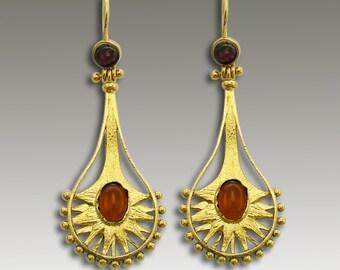Gold Earrings, carnelian garnet earrings, long earrings, event earrings, chandelier earrings, ethnic earrings - Cirque Du Soleil  EG2206