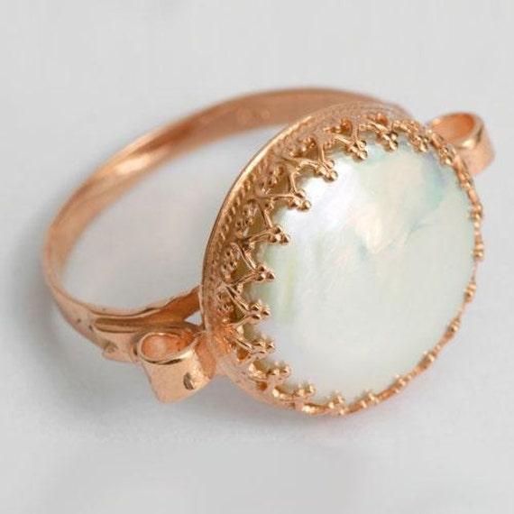 14K rose gold Ring, rose cut blue quartz ring, Victorian ring, gemstone ring, gold engagement ring, gold crown ring, fligree - Dejavu RG1172