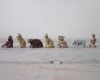 Wade Whimsies Rose Tea Miniature Figurines Set of Seven Lion Rhino Lemur Beaver Racoon Tiger Duck