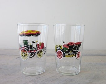 Vintage Cocktail Glasses with Car Images Barware Set of Two