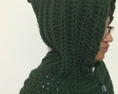 Crochet Hooded Cowl, Chunky Scoodie, Crochet Hoodie Cowl, Crochet Hooded Scarf, Chunky Hoodie Cowl, Dark GreenScoodie, Ready to ship