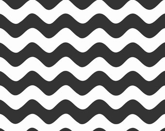 """WAVE Black and White ~ 100% Cotton Fabric ~ 1/2 yard ~ 18"""" x 44"""" ~ from Riley Blake ~ C415-110"""