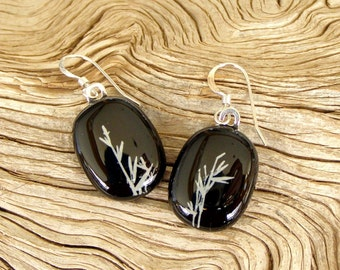 Fused Glass Earrings - White Bamboo Shoots - Fused Glass Jewelry - Black Glass - Handmade Glass Jewelry - Sterling Silver Findings