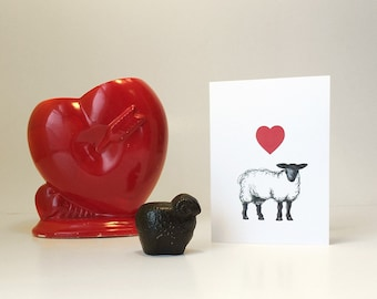 Sheep love card for anniversary, new baby, or just a love note. Blank inside.