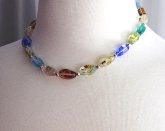 Colorful Glass Beaded Necklace, Millefiori glass bead necklace, Multi color necklace, sterling silver necklace, Spring Fashion Jewelry