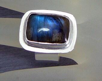 Labradorite sterling silver ring - simple ring - blue flash labradorite - handmade ring - tailored