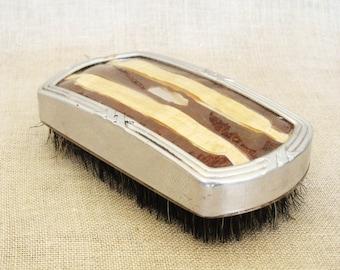 Vintage Shoe Brush, Clothing Brushes, Antique, Metal, Shoe Care, Clothing Care, Lint Brush, Art Deco, Masculine, Wood Grain, Men