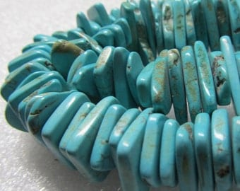 Turquoise Bead 25 X 10mm Natural Aqua Turquoise Rough Rectangle Chips - 8 inch Strand
