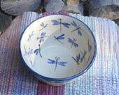 Handmade Ceramic small bowl - Stoneware bowl - cereal bowl - Pottery Serving Bowl - Serving bowl - painted in Dragonfly Design df110810