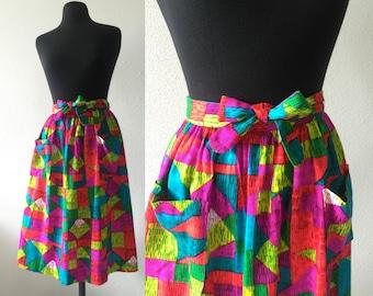 Vintage 1970s Colorful Wrap Skirt