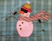 Skiing Fun, A Cute Snowman Applique  PDF Pattern for Tea Towel