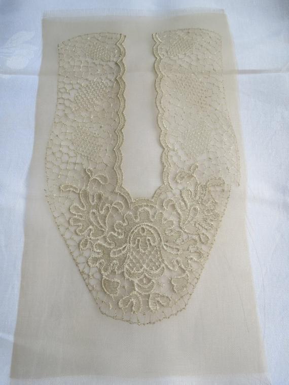 vintage off white dress neckline applique unused art deco. Black Bedroom Furniture Sets. Home Design Ideas