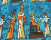 "Vintage 50s Ancient Egyptian Novelty Fabric, Golden Yellow and Orange on Brilliant Turquoise, Cotton, 32"" x over 4 YDs, By the Yard"