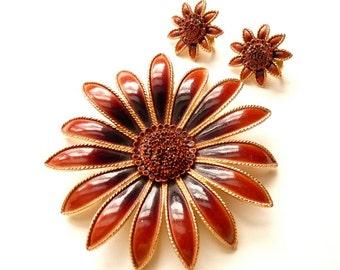 Vintage Designer Flower Pin Earrings Set Deep Rust Enamel 3 Inch Pin 1 Inch Earrings Autumn Colors