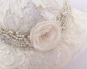 Bridal hat Wedding fascinator Woman hat lace