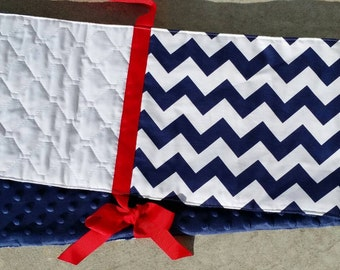 Crib Teething Guard - 1pc - Navy and White Chevron with Red Ties