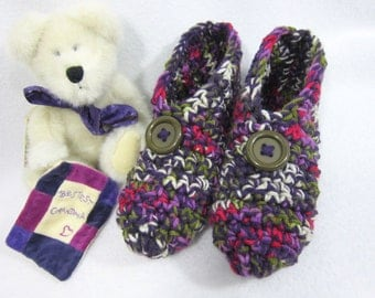 Crochet Slippers in Purple, Green, Cream and Rose, Crocheted House Shoes, Gift for Mom, Teacher Present, Size Large Womens Thick Slippers