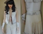 1950s Off White Western suit vest culottes cowgirl capris pants leather fringe wrist cuffs SMALL