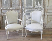 Antique French Arm Chairs in Linen
