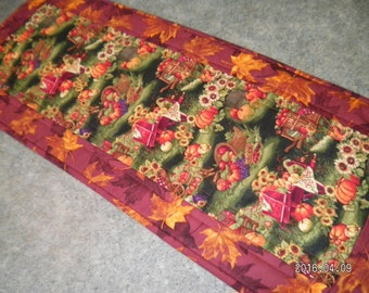 Rust Fall Leaves Pumpkin 12  X 31  Table Runner Topper