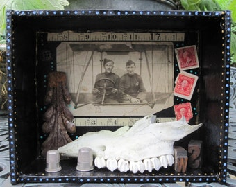 Assemblage art, 3D mixed media shadow box, found object art
