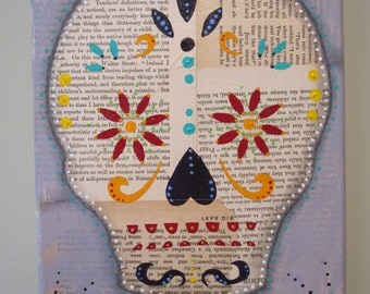 Sugar skull collage, Day of the Dead art, recycled home decor