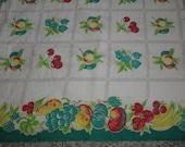Vintage Flour Sack, 1930-1940 Vintage Fabric, Feedsack -Red Yellow Green Aqua White - 36 x 40  inches